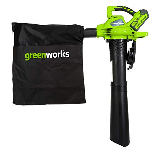 Greenworks Cordless Leaf Blower and Vacuum 2 in 1 GD40BVK2X (Li-Ion 40 V 185 km/h Air Speed 45 l Bag Speed Control Powerful Brushless Motor incl. 2 Batteries 2 Ah and Charger)
