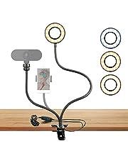 Webcam Ring Light Stand voor Live Stream Selfie Ring Vullicht met Webcam Mount of Telefoonhouder, 3-Lichtmodi 10 Niveaus Helderheid Aanpassing Gebruik in YouTube, Online Chat, Facebook