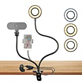 inRobert Webcam Ring Light Stand para Live Stream Selfie Ring Fill Light con Montaje de cámara Web Uso en Youtube, Chat en línea, Facebook