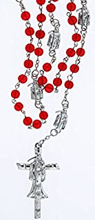AURA VARIETY SANTA MUERTE ROSARY 21 INCH LONG WITH RED BEADS - HOLY DEATH - DAY OF THE DEAD - DIA DE LOS MUERTOS