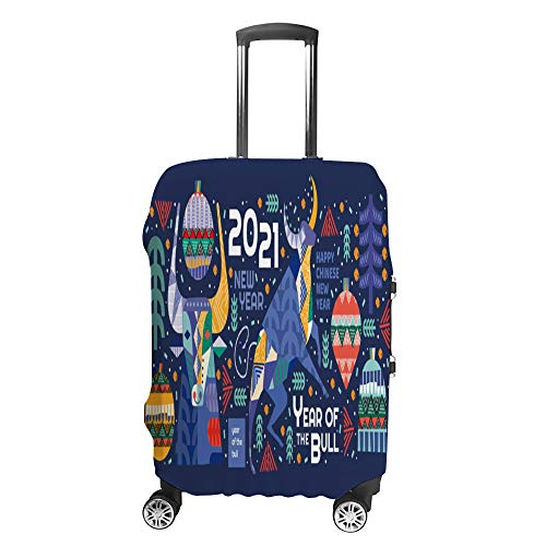 Luggage Cover Travel Anti-Scratch Suitcase Cover Baggage Protector Case 2021 Year Bull Abstract Fit Washable Accessories Dustproof S