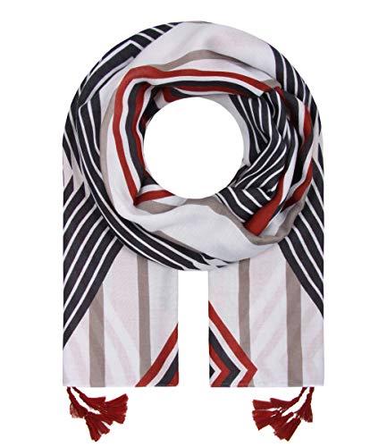 Majea Schal Damen Tuch Kopftuch Halstuch Schals und Tücher mit Muster Stola (rot 7)
