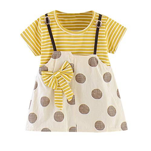 Luoluoluo baby meisjes jurk korte mouwen gestreept zomerjurk met knopen prinses jurk meisje zomer baby kleding