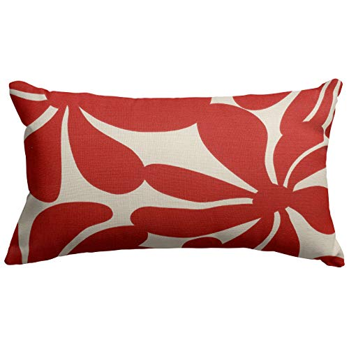 "Majestic Home Goods Red Plantation Indoor / Outdoor Small Throw Pillow 20"" L x 5"" W x 12"" H"