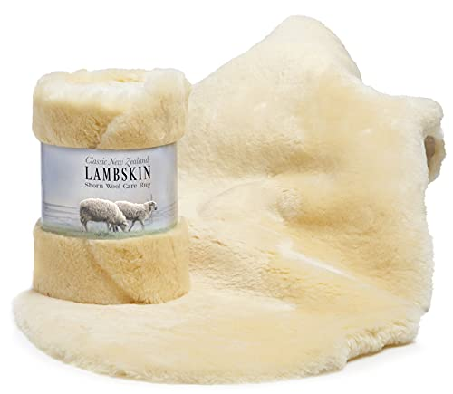 Genuine New Zealand Baby Sheepskin, 100% Natural, Soft Shorn Wool, Soothing Comfort All Seasons (Size L), by Desert Breeze Distributing