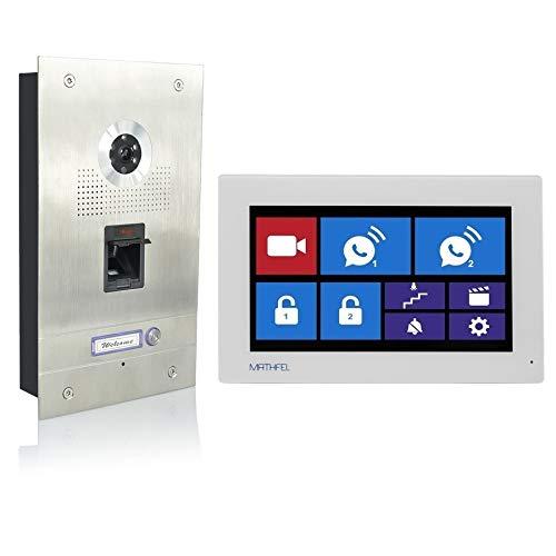 Fingerprint Video Türsprechanlage Gegensprechanlage mit 7″ Monitor, mit oder ohne WLAN Schnittstelle, Fischaugenkamera 170 Grad, Größe: 1x7'' Monitor