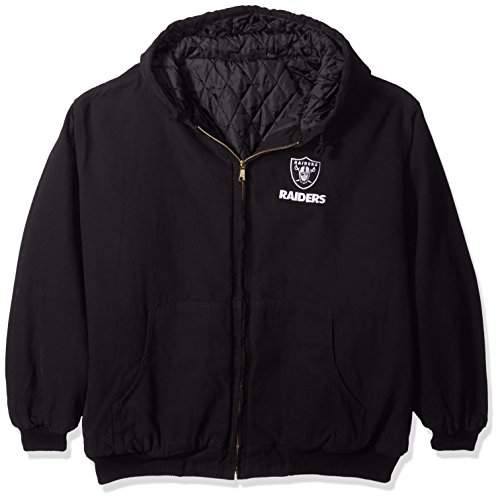 NFL Oakland Raiders Cumberland Canvas Quilt Lined Hooded Jacket, Black, XX-Large