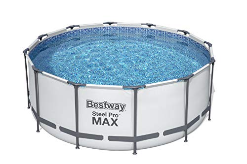 Bestway Steel Pro Max Round Frame Swimming Pool with Filter Pump, Grey, 12 ft