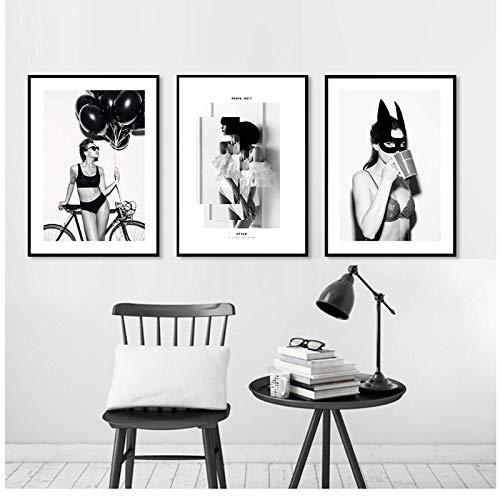 JLFDHR Negro Blanco Moda Sexy Super Girl Paris Lienzo Pintura Perfume Impresiones Carteles Arte de la Pared Imágenes para la decoración de la Sala de estar-50x70cmx3 Sin Marco