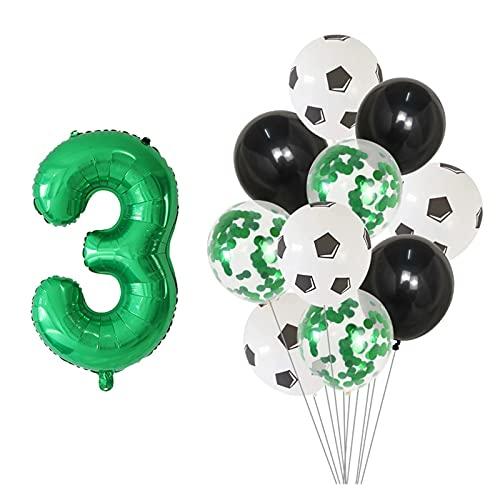 Palloncino 11pcs / Set 12inch Calcio Calcio Confetti Palloncini in lattice 30 pollici Numero Tema di calcio Party Party Party Decorazione per bambini giocattolo per bambini Decorazione per feste