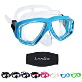 OMGear Diving Mask Swim Mask Snorkel Mask Swimming Goggles with Nose Cover Junior Adult Snorkeling Gear for Scuba Free Diving Spearfishing Neoprene Strap (Aqua)