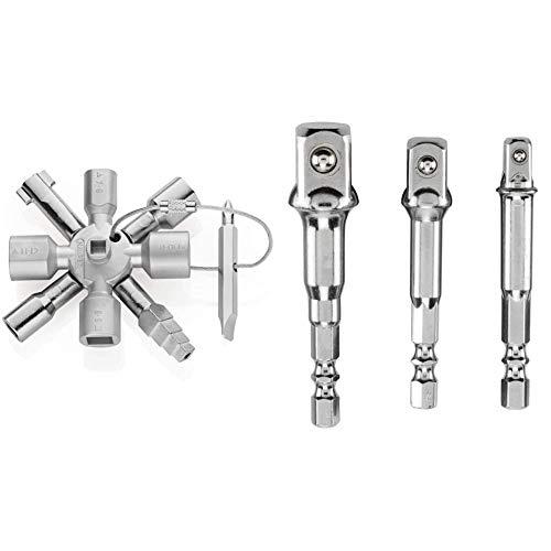 KNIPEX TwinKey (92 mm) 00 11 01 (Produkt auf SB-Karte) & kwb Steckschlüssel Adaptersatz 3-teilig – Sechskant auf Vierkant für Bohrmaschinen, Steckschlüssel, Schrauber und Bit-Halter, 1/4, 3/8