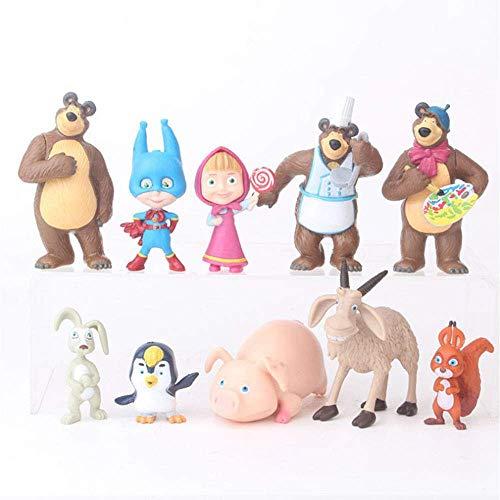 【10PCS】 Masha and The Bear Mini Figures, 1-3' Tall Mini Figure Toys for Kids, Masha and The Bear Playset, Cupcake/Cake Toppers Party Favor