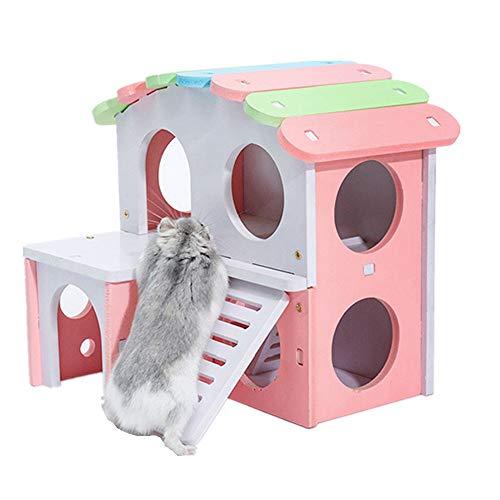 KDOAE Cabaña para Animales Pequeños Hamster casa del Animal doméstico pequeño escondite Animal de Madera Hut Juega Juguetes masticables for como Enano Rata Jerbo para Ratones Hamsters Gerbil Home