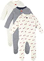 Marks & Spencer Baby Girls' 3 Pack Organic Cotton Sleepsuits, White/Red