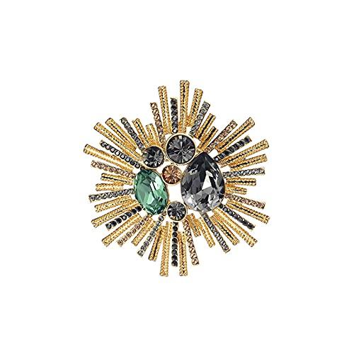 liangzishop Damen Brosche Broschen - Inline mit Kristall Temperament Damen Corsage Kleid Schal Schal Mantel Brosche Pins Geschenk für Frau (Golden gelb) Brosche Dekoration (Color : A)