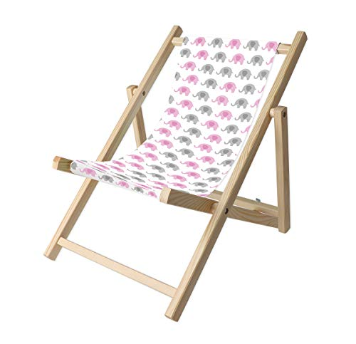 Promo Trade Kinder- Liegestuhl, naturbelassenes Kiefernholz, umweltverträglich mit verschiedenen Motiven (Elefant rosa)