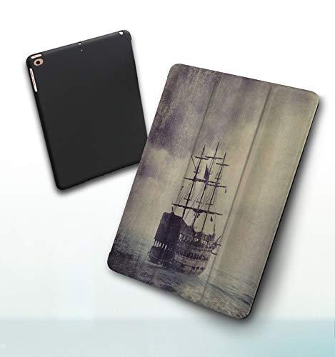 iPad 5./6. Generation , iPad 9.7 2018/2017 , Nautique vieux bateau pirate dans la mer croisière historique rétro voyage Grunge Sty Case Housse Étui de Protection avec Support Fonction, Veille/Réveil