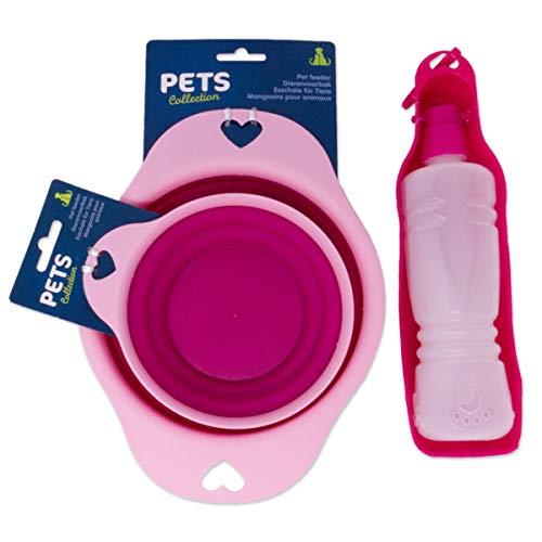 AMBLYO 3tlg Set Hundenapf und Trinkflasche für unterwegs, Faltbare Reise Futternäpfe und Tränke für Hunde Farbe pink
