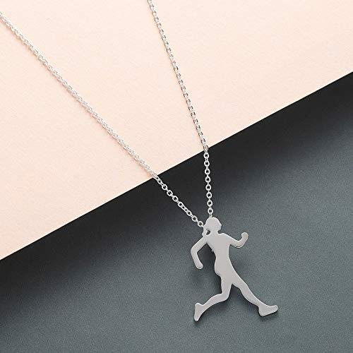 SSLL Halskette Inspirierende Läufer Mädchen Halskette Frauen Marathon Laufen Halskette Anhänger Für Liebhaber Sport Schmuck, C