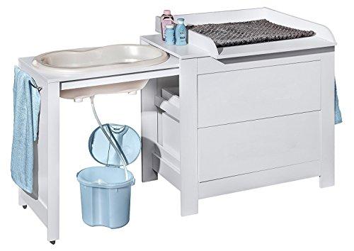 Belivin 3in1 Wickelkommode weiß | Wickeltisch weiß | ausziehbare Badewanne | umbaubar zur normalen Kommode | große Schubladen | inkl. extra großen abnembaren Wickelaufsatz | besonders stabil