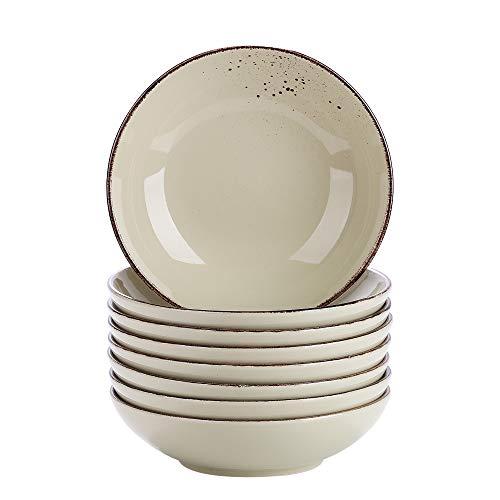Vancasso Suppenteller, Navia 8 teilig Tiefteller bunt aus Steingut, Ø 22 cm, Geschirr Tellerset Suppenschalen, beige grün