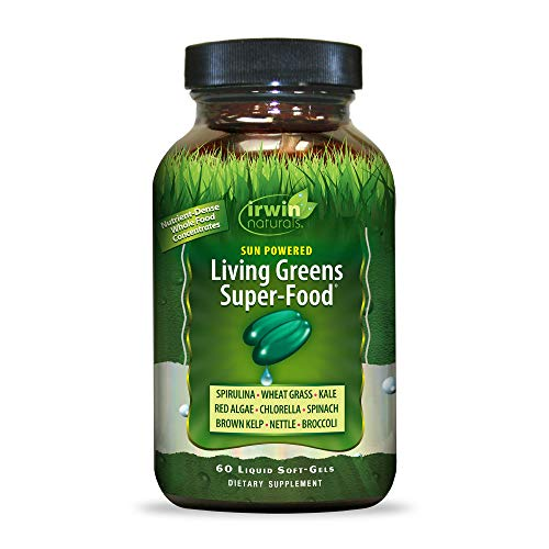 Irwin Naturals Sun Powered Living Greens Super-Food - Whole Food Concentrates with Spirulina, Wheat Grass, Chlorella, Digestive Enzymes & More - Energizing Nutritional Supplement - 60 Liquid Softgels
