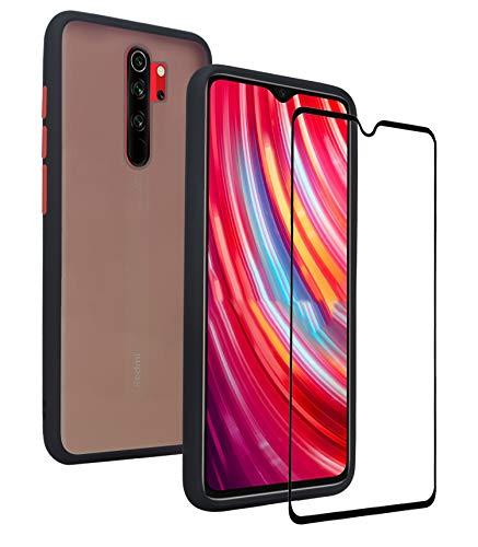 KANSI Funda para Xiaomi Redmi Note 8 Pro + Cristal Templado, Soft Silicona TPU + Hard PC Hybrid Mate Durable Carcasa Capa Anti-Arañazos Robusta Case - Negro