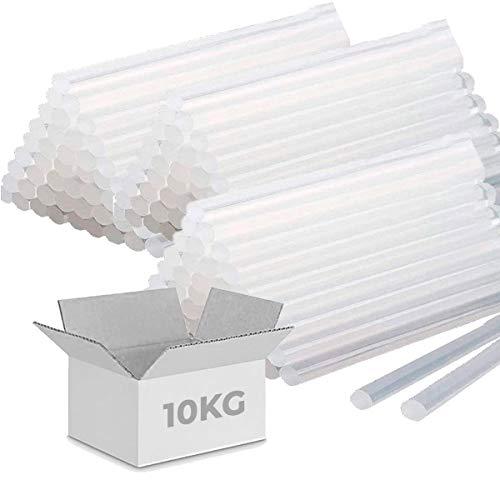 10 KG de COLA TERMOFUSIBLE 500 BARRAS de silicona traslúcida para pistola...