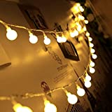 4.9 Feet Led Bulb Ball String Lights, Fairy String Lights Plug in, Decor for Indoor Outdoor Party Wedding Christmas Tree Garden, Warm White