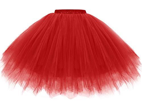 Gardenwed Jupe Tulle Femme Rouge Jupon Femme Vintage en Tulle Jupe Courte Style Années 50s Rétro Petticoat Jupon Tutu Rockabilly Red XL