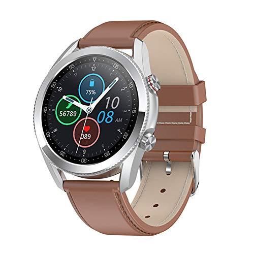 YDL Nueva Llamada Bluetooth Smart Watch Men Pantalla Táctil Completa IP68 ECG Impermeable ECG Ritmo Cardíaco SmartWatch Música Play Deportes Pulsera (Color : Leather Brown Silver)