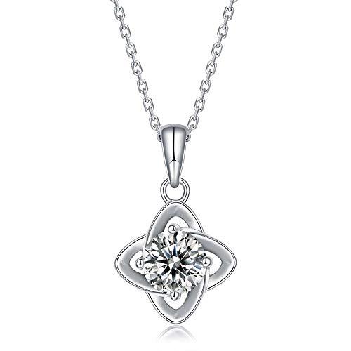 pengge Collar De Moissanita De Plata 925, Collar Colgante De Amor Perfecto para Regalos del Día De San Valentín para Mujeres, Four Leaves