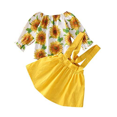 YWLINK Conjunto NiñA Vestido Estampado De Girasol Altavoz De Manga Larga Arriba Camiseta Mono+Color SóLido Falda Vestido Mezcla De AlgodóN Traje De 2 Piezas Fiesta De Bodas(Amarillo,18-24 meses/100)