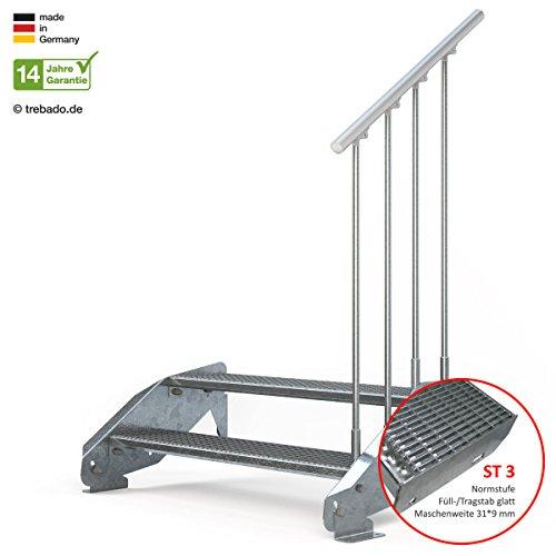 Außentreppe 2 Stufen 110 cm Laufbreite – einseitiges Geländer rechts - Anstellhöhe variabel von 29 cm bis 44 cm - Gitterroststufe ST3 - feuerverzinkte Stahltreppe mit 1100 mm Stufenlänge als montagefertiger Bausatz