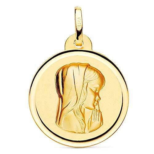 Medalla oro 18k Virgen Niña 20mm. relieve lisa detalle bisel - Personalizable - GRABACIÓN INCLUIDA EN EL PRECIO