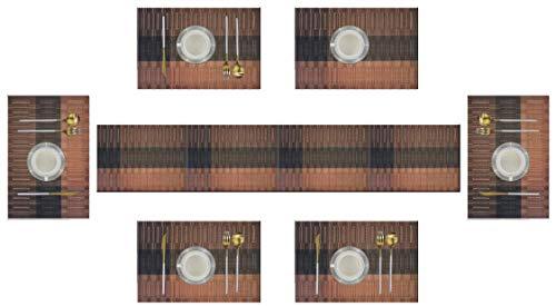 6er Platzdeckchen mit einem Tischläufer,Eageroo Rutschfest Abwaschbar Tischmatten aus PVC Abgrifffeste Hitzebeständig Tischsets Schmutzabweisend,Braun (6er Platzsets + ein Tischläufer)