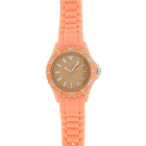 Reflex dames sporthorloge met draaibare ring en perzik/oranje siliconen armband SR041