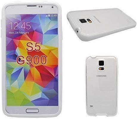 Samsung Gerät Boxx Transparent Vorder- und Rückseite Schutzhülle mit Weißen Stoßstange Seite für S5 G900