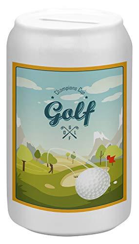 LEotiE SINCE 2004 Spardose Sparbüchse Geld-Dose Wiederverschließbar Farbe Weiß Fun Golf Keramik Bedruckt