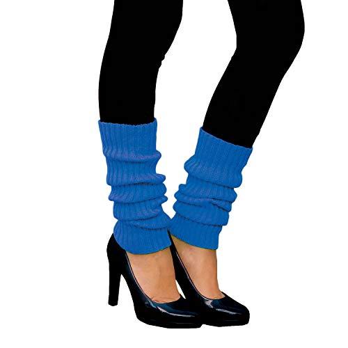 Oblique Unique® Sexy Damen Bein Stulpen Neon Strümpfe für 80er Jahre 80s Motto Party Fasching Karneval Tanzen Aerobic Kostüm Accessoires - Farbe wählbar (Neonblau)