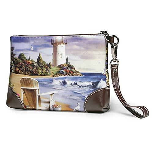 XCNGG Sea Lighthouse Sandbeach Printed Clutch Geldbörse Abnehmbare Leder Wristlet Wallet Bag Damen Handtasche Hand