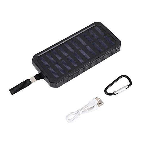 Banco de energía Solar, 20000mAh Cargador de batería Externo portátil del Banco de energía de energía Solar con luz LED de 6 Piezas para vocación de Senderismo al Aire Libre, 237 g(Negro)