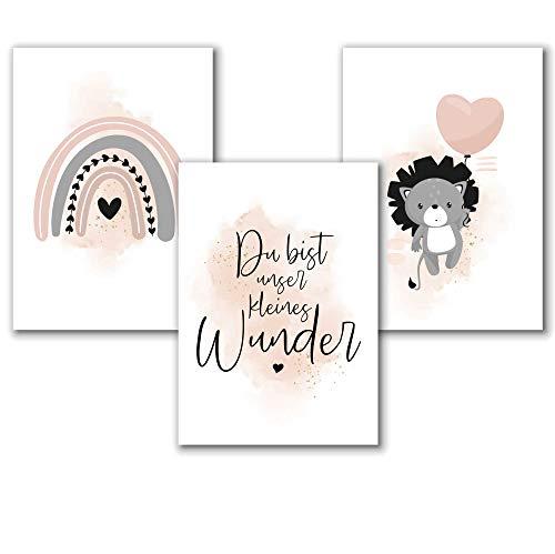 Aquarell Kinderzimmer Poster für Mädchen in Rosa Grau, Spruch Bilder Babyzimmer Deko, Tierbilder Löwe, Regenbogen Dekoration, 3er Set A4, ohne Rahmen