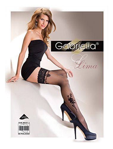 Lace Top Hold-ups with Floral Pattern  LIMA  20 Denier by Gabriella (3 4 - M L, Black)
