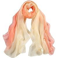 """WZTP pañuelo de seda Mujer 100% seda Mantón Bufanda Moda Chals Señoras Elegante Estolas Fular 70,8""""x 27,5"""
