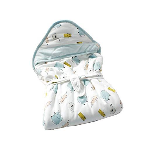 JUEJIDP Manta con Capucha para bebé, Manta Envolvente para Saco de Dormir para bebé recién Nacido, Manta de algodón Transpirable Ultra Suave y cálida para niños y niñas de 0 a 6 Meses,Elephant