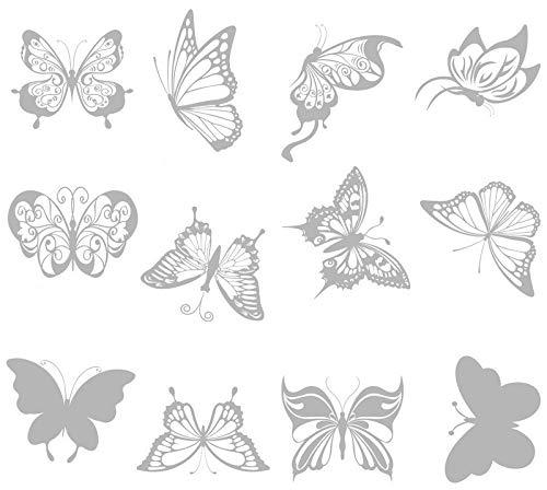 ASFINS Adesivi per finestre anti-collisione, 24 pezzi adesivi per finestre a farfalla Adesivi in vetro a forma di farfalla per fermare gli uccelli che volano nelle finestre
