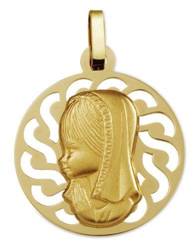 Www.diamants-perles.com-Medalla Baptème-Medalla religiosa-virgen-redonda perforada con borde, 20 mm, color amarillo, 750/1000