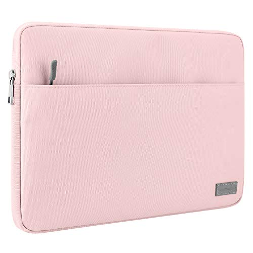 MoKo Laptop Sleeve Case Fits Surface Pro X/Pro LTE 12.3 Inch, Surface Laptop Go 12.4', Google Pixel Slate 12.3', Zipper Polyester Bag with Pocket, Fit Surface Pro Type Cover and Pen - Pink